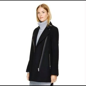 Wilfred Fei Black Wool Zip Coat w/ Cashmere- Small